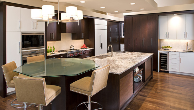 Kitchen Design with Dark Woods mixed with White Enamel