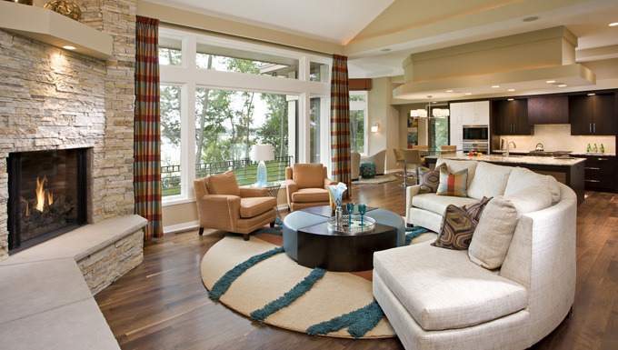 Soft Contemporary Living Room Design on Lake Minnetonka