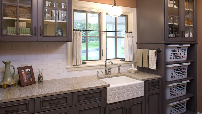 Family Friendly Laundry Room with Custom Cabinets