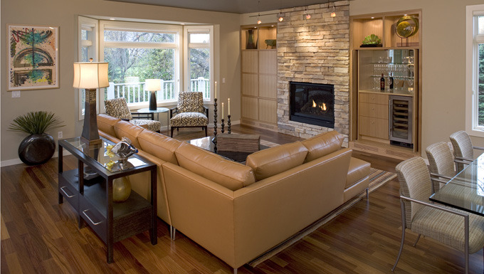 Family Room with Hidden Wet Bar - Eden Prairie, MN