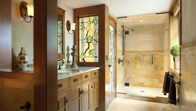 Guest Bathroom with Custom Stained Glass - Edina, MN