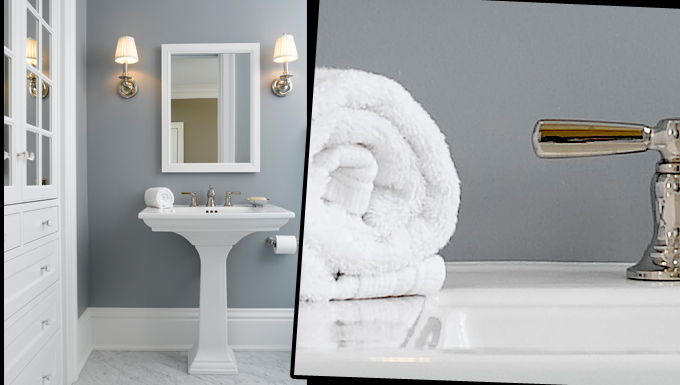 The guest bathroom interior design is refreshingly simple and clean.
