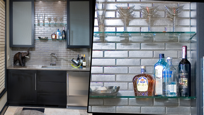 The wet bar designed on a blank end wall of a third floor hallway to accommodate rooftop entertaining. Hand glazed tile creates a beautiful sheen in contrast to matte black wood.