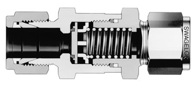 Figure 4: Check valves ensure flow in one direction only. Check valves are available with fixed or adjustable cracking pressures.