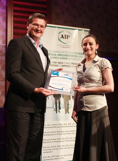 Mark Dingley congratulates APPMA scholarship award winner Anna Roland