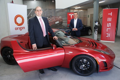 Chris Giaouris, Origin Group Manger, Retail Solutions; Jay McCormark, Tesla Motors Country Manager for Australia & New Zealand; and the Model S five-door ...
