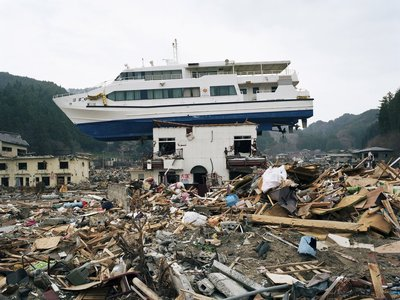 Boat dragged inland during the Japanese tsunami in 2011