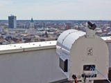The wireless demonstration transmitter on top of a building