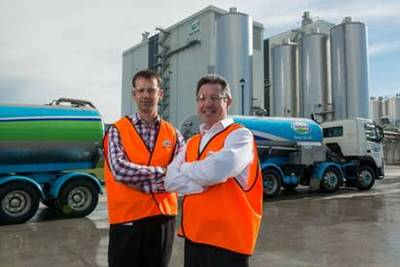 Canterbury Operations Manager, Richard Gray, and Director Logistics Network, Robert Spurway, stand in front of the world's largest milk powder drier at Fonterra's Darfield site.