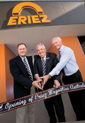 Left to right: Tim Shuttleworth, CEO of Eriez Magnetics International; Cr Rex Griffin, Mayor of Whittlesea Council; Malcolm Davy, Managing Director, Eriez Magnetics Australia.