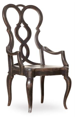 Splatback Wood Seat Arm Chair