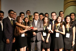 Enactus Tunisia - team with PM and cup