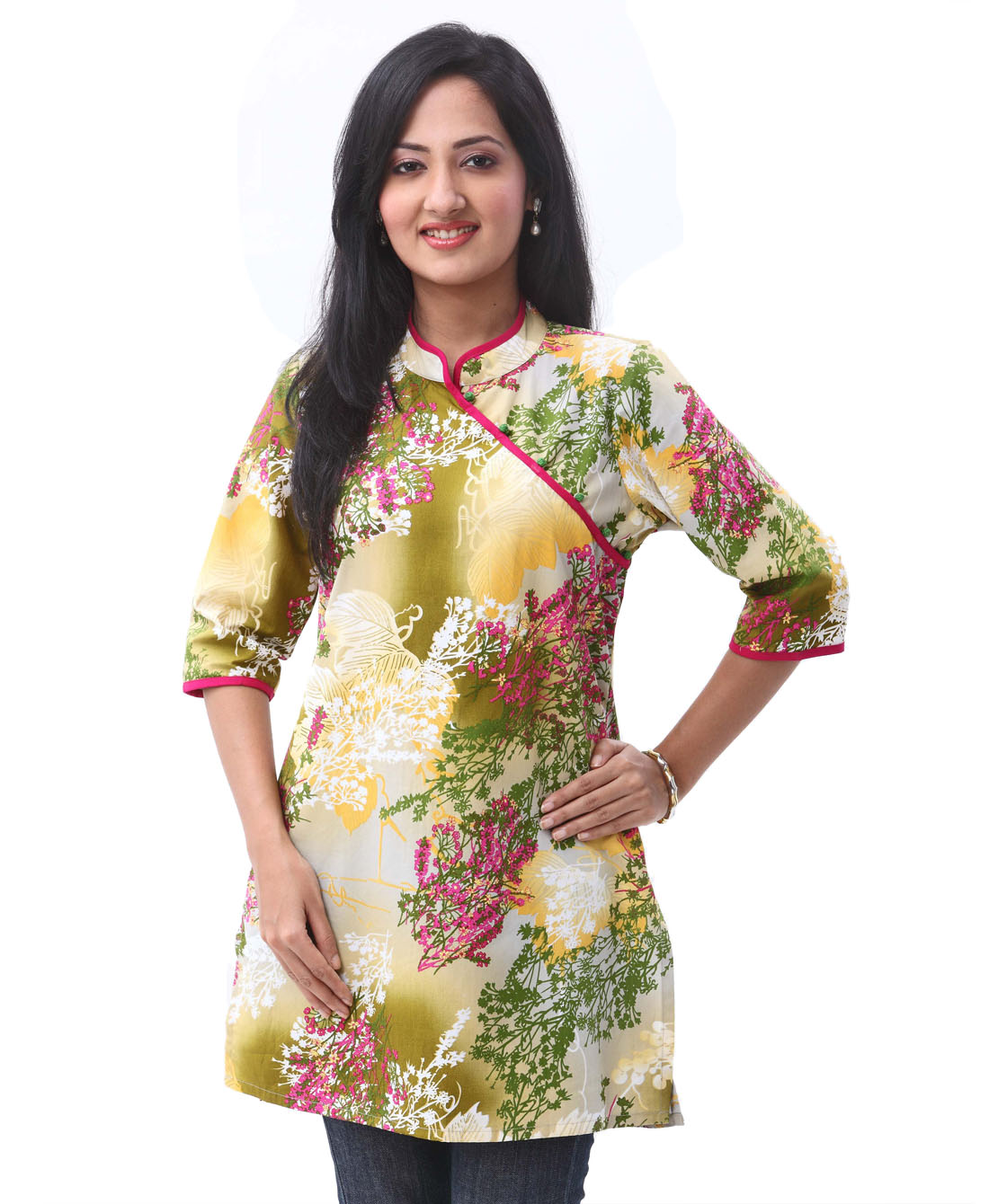 chinese style floral print tunic