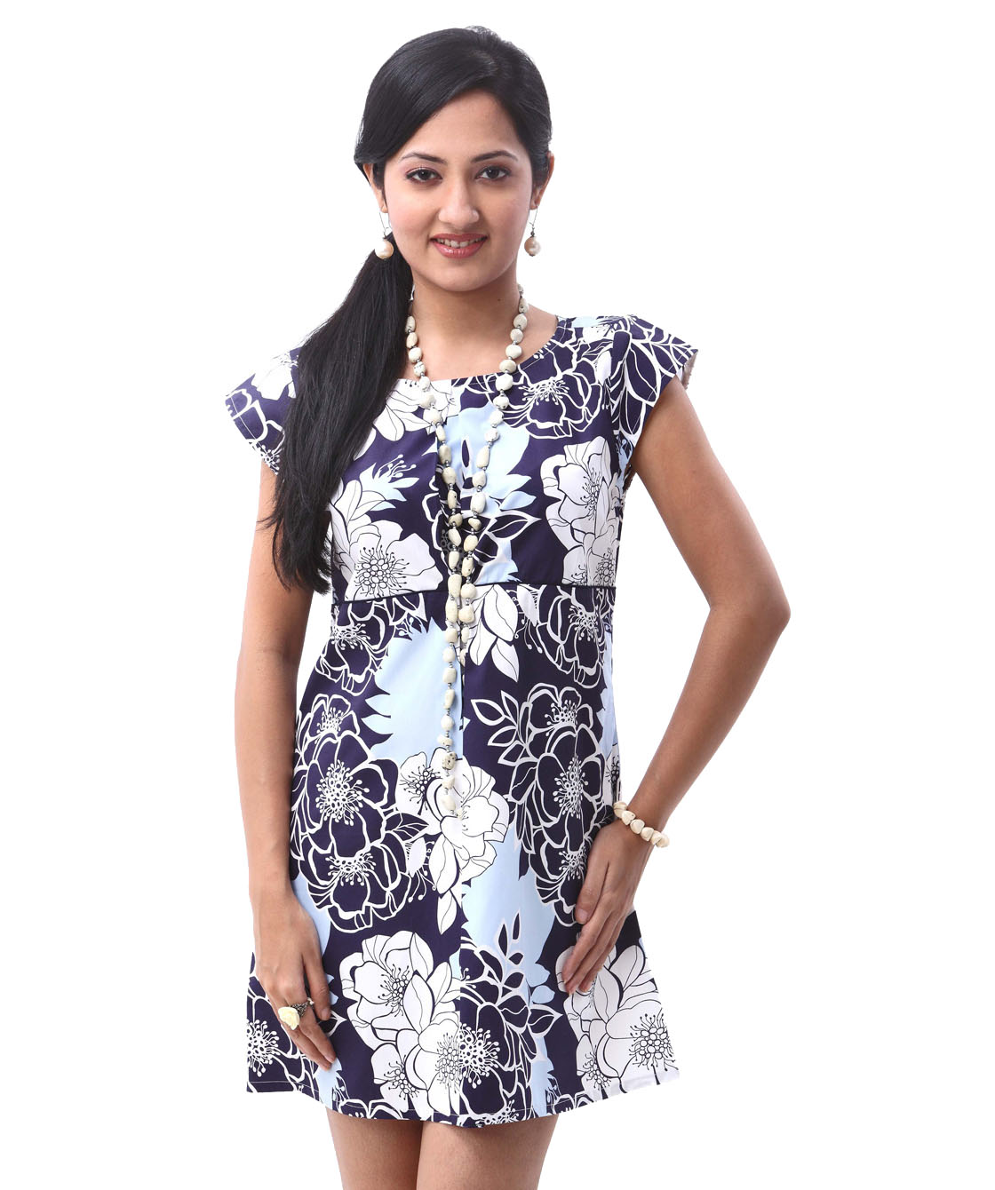 bold floral printed box pleat tunic