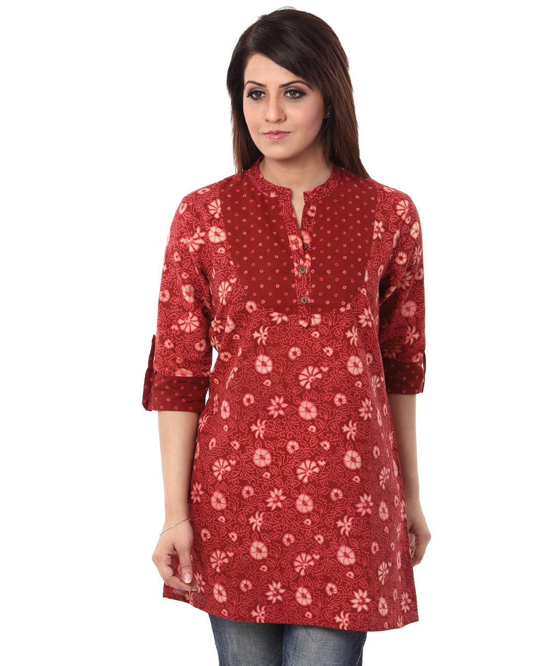 floral jal tunic with bandhej yoke