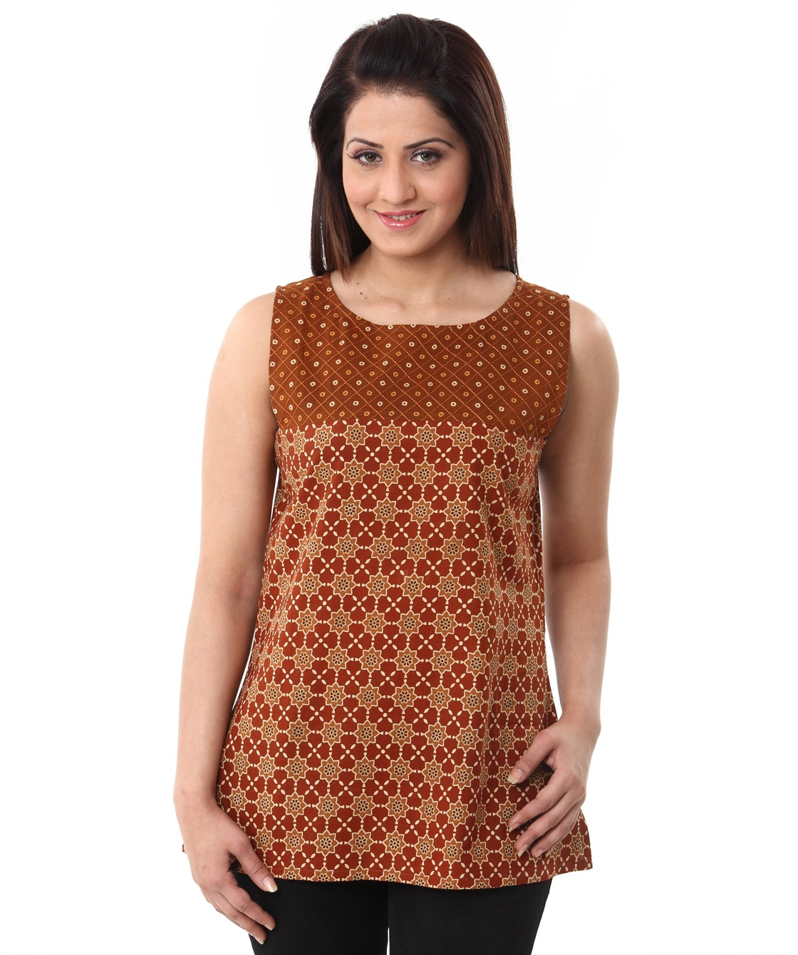 mughal print textured yoke top