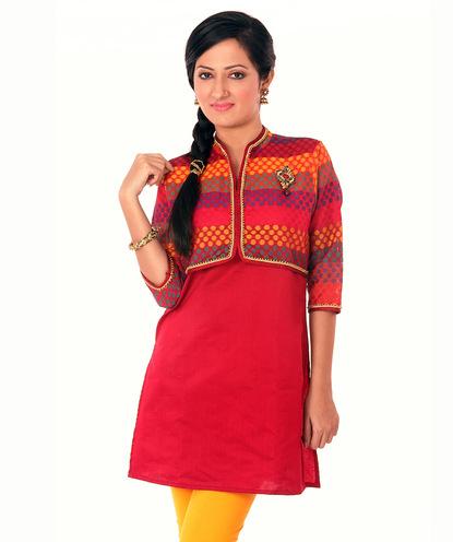 chanderi tunic with koti