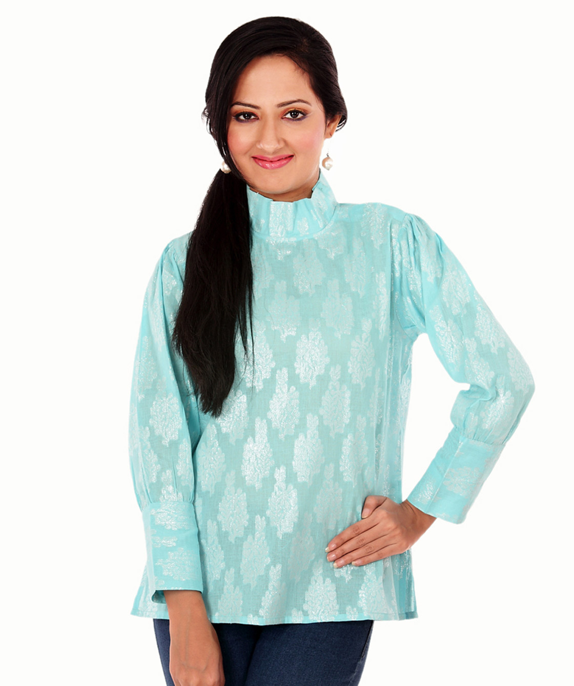 brocade cotton formal top