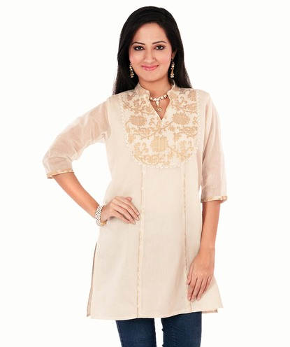 brocade chanderi yoke collar kurta