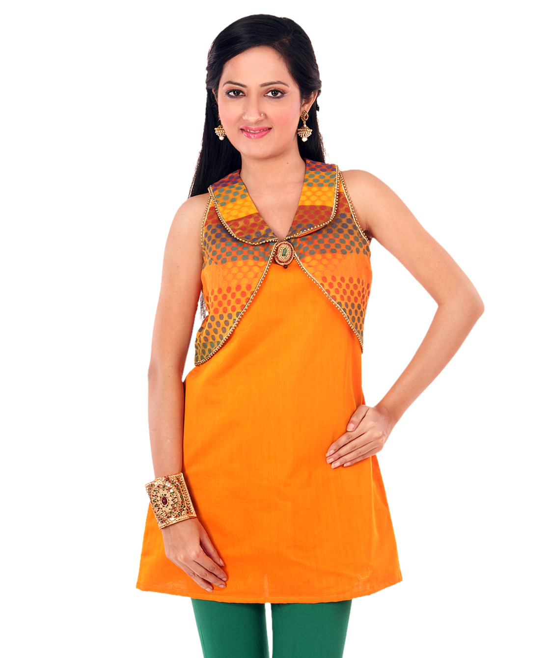 chanderi tunic with mock shrug