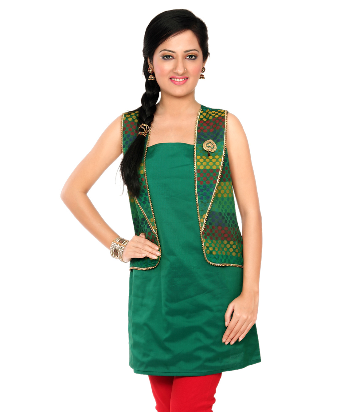 chanderi tunic with mock jacket