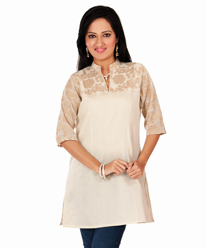 brocade sleeves chanderi tunic