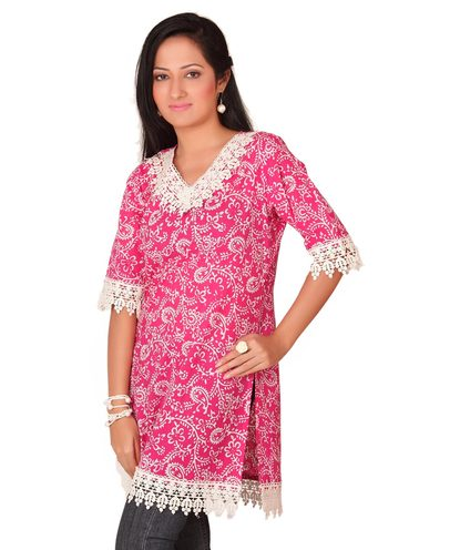 batik and lace kurta