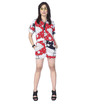 Flashy jigsaw print romper