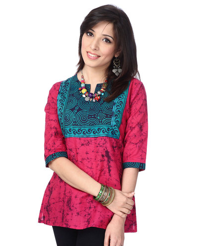 Batik color-block Kurti