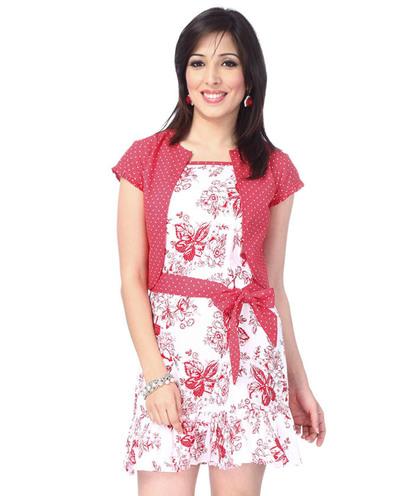 Fine flora frill dress with shrugh