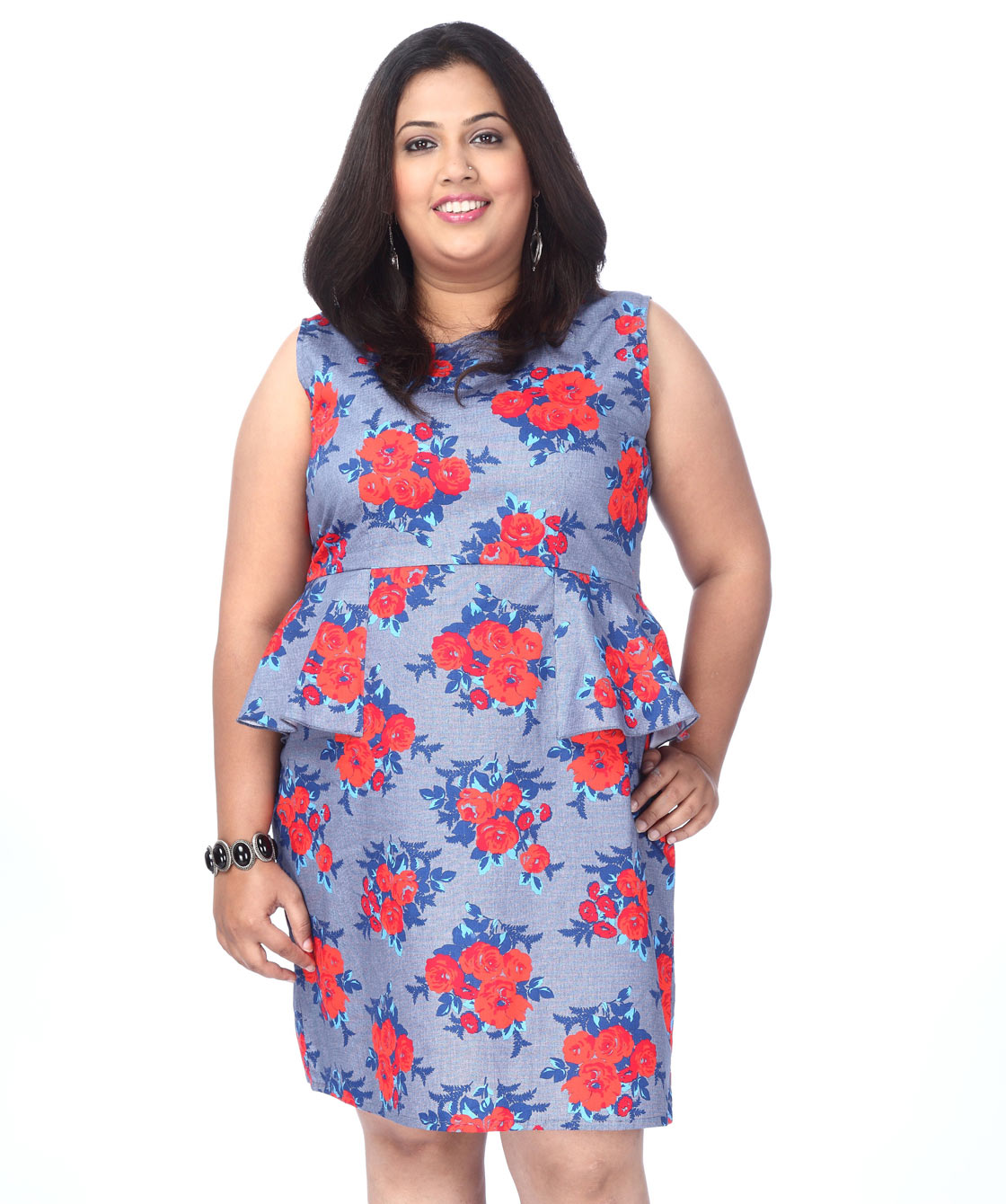 Peplum rose print dress