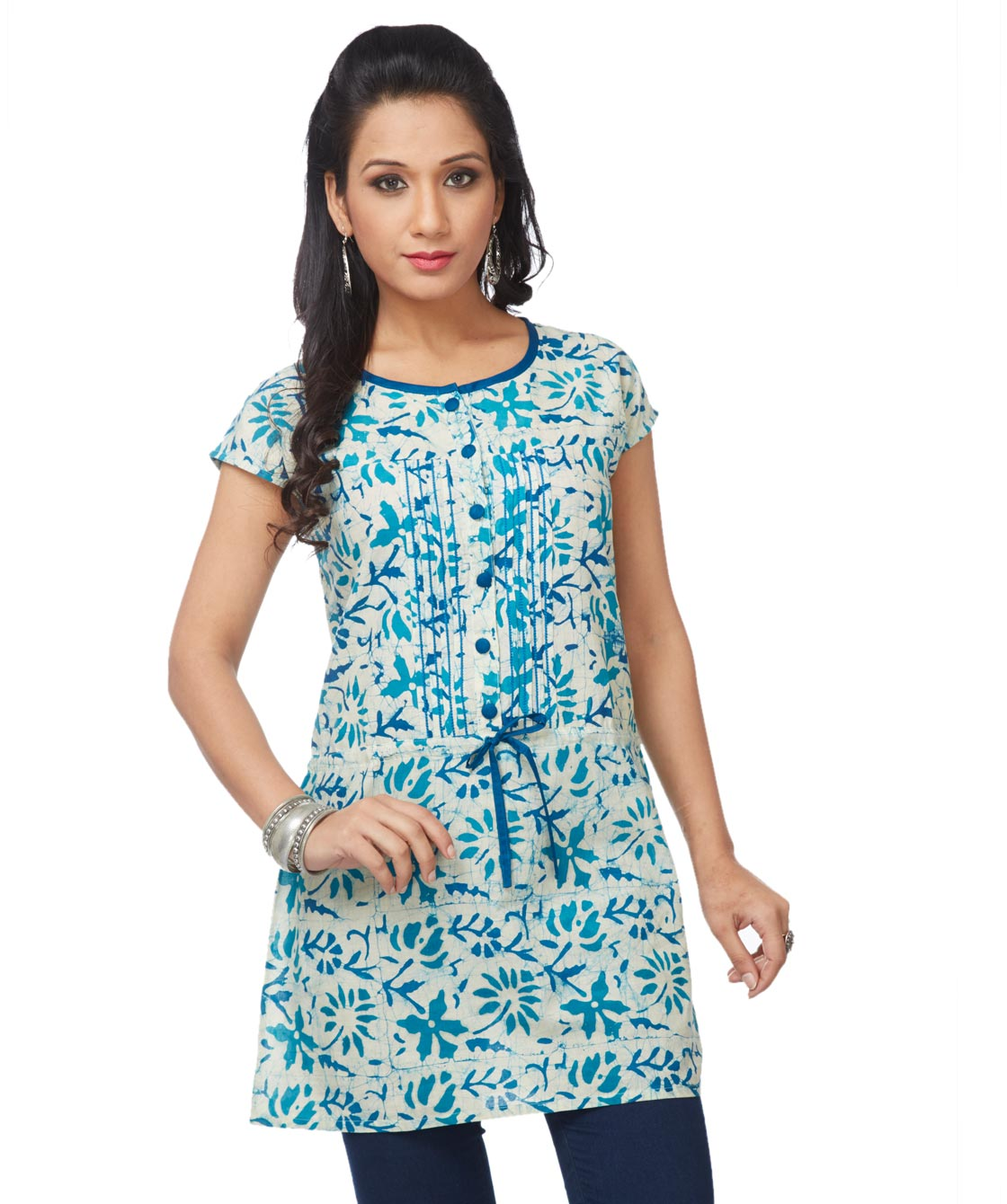 Batik pleated tie-up tunic