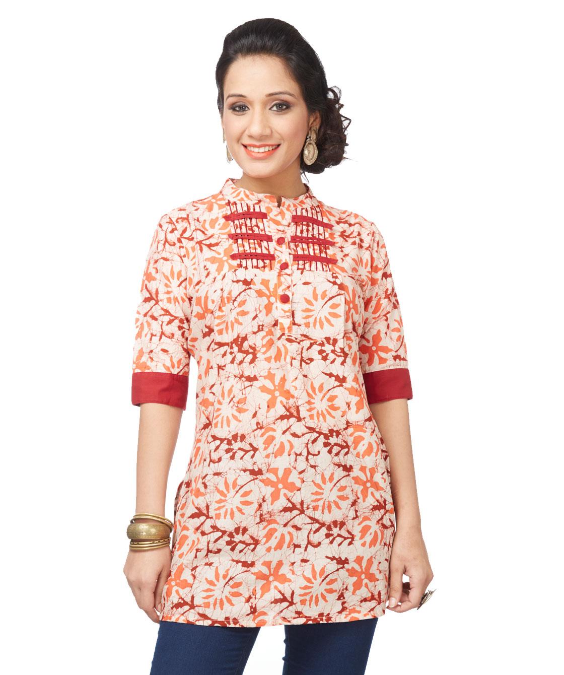 Batik chinese yoke tunic