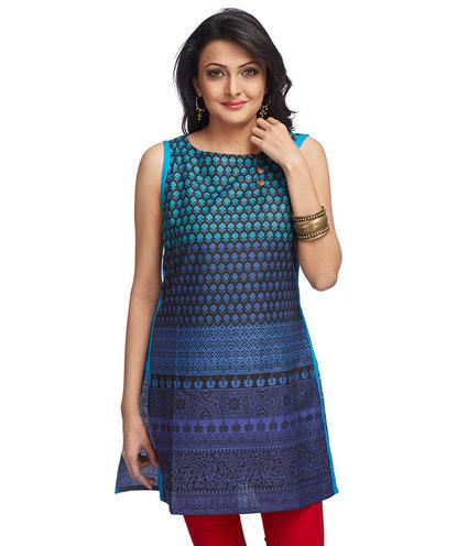 Gradient print sleeveless kurti