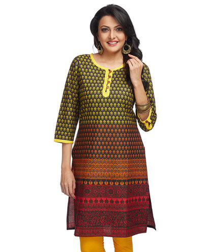 Gradient print long kurta