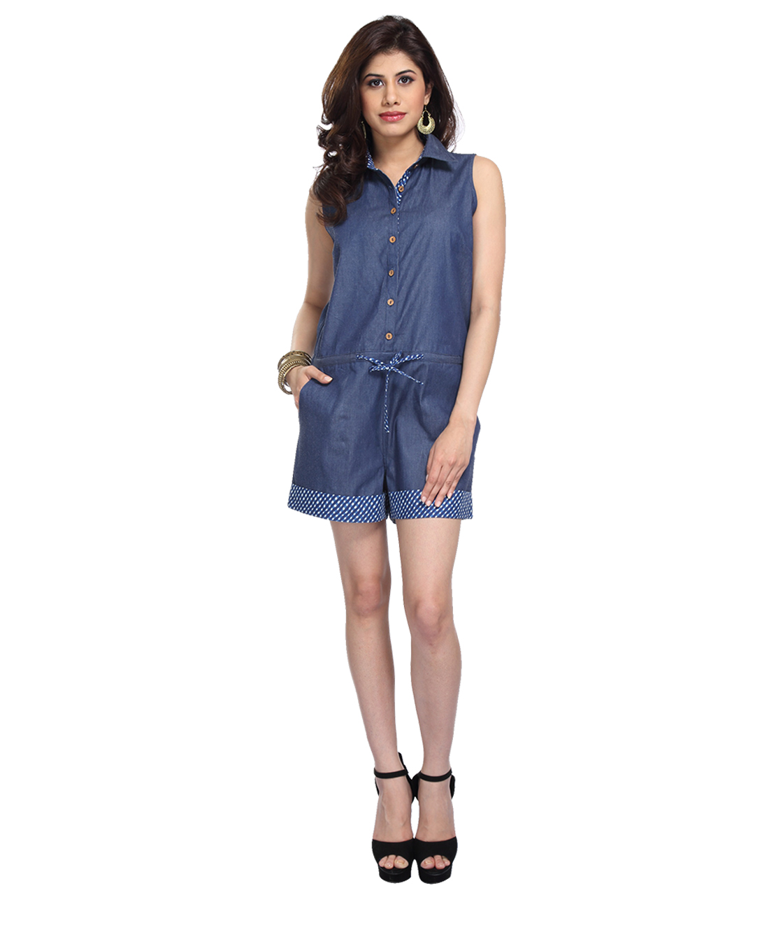 denim and cotton playsuit