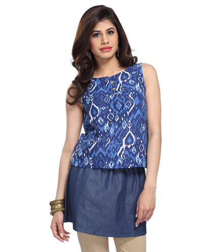 Denim and ikat print tunic