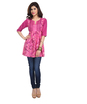 Ikat print gathered tunic