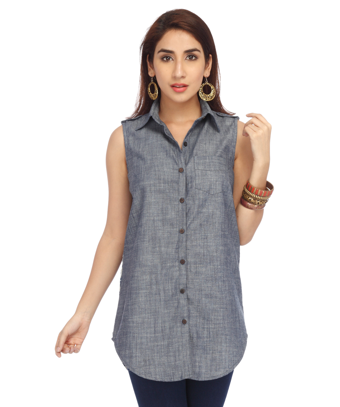 ENAH denim and print shirt tunic