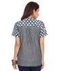 ENAH denim and print shirt top