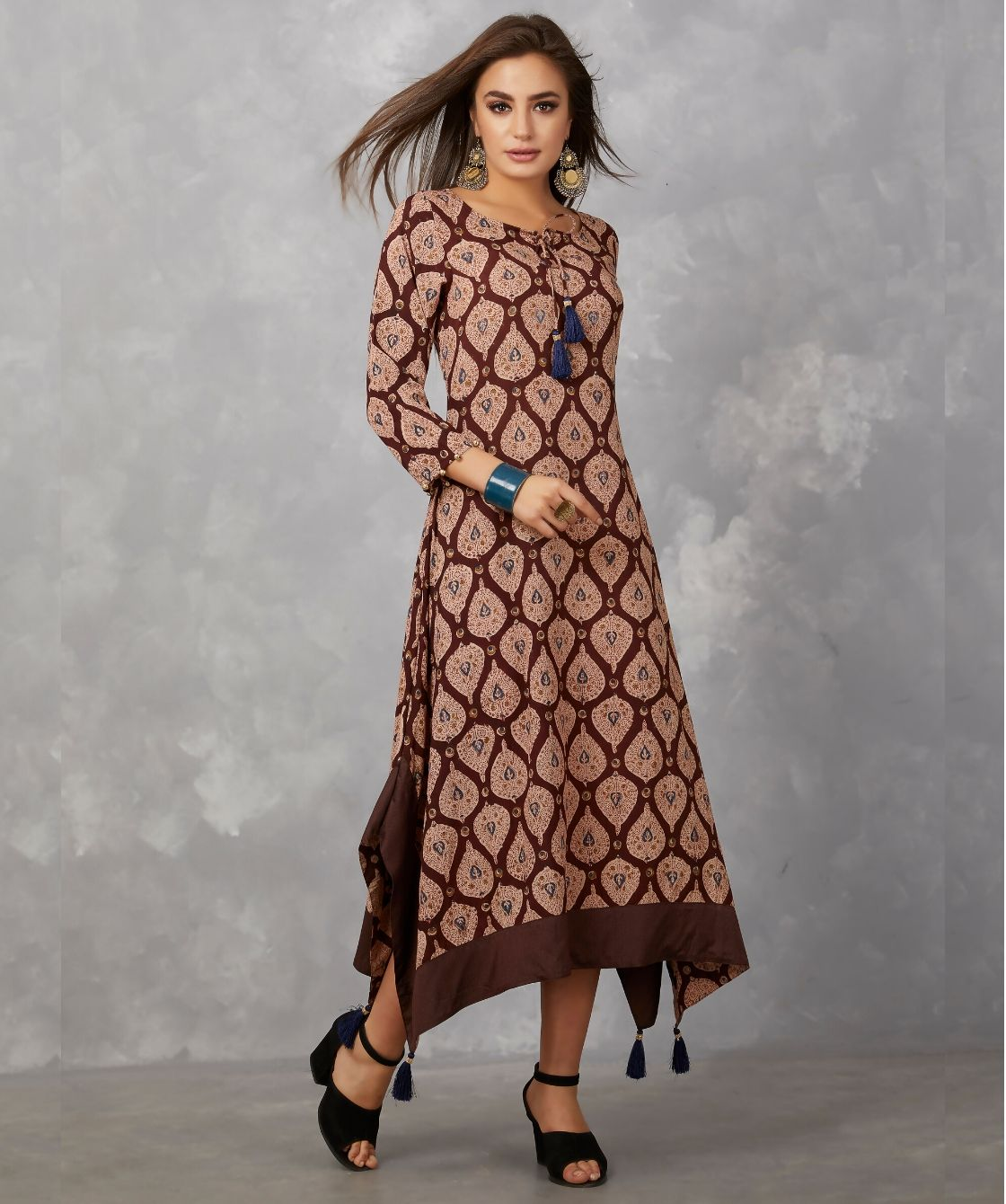 handkerchief cut long dress