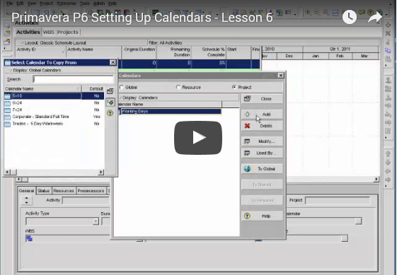YouTube Lesson 6: Setting Up Calendars in P6
