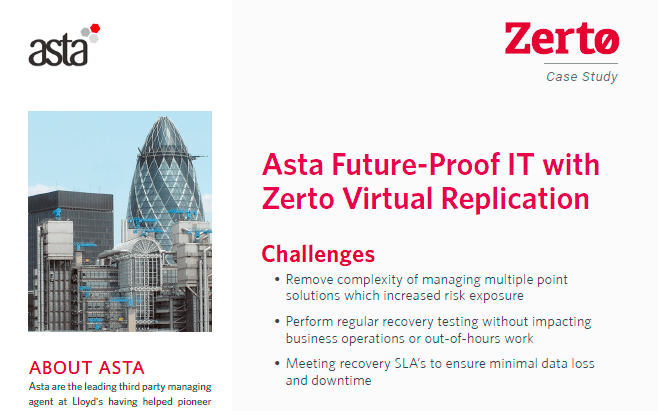 Asta Powerproject Case Study – Zerto