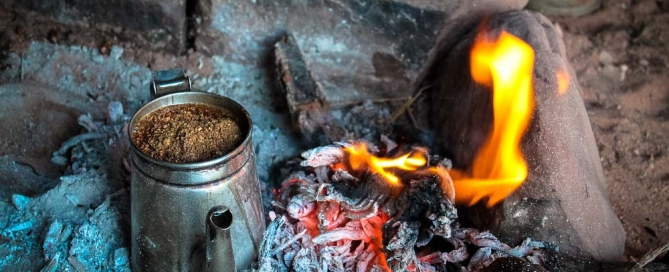 Bedouin tea by the fire - Wadi Rum tour