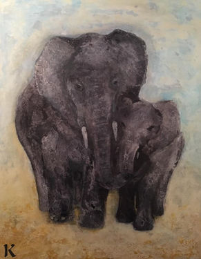 """Elephants"", 70x90 cm, mixed media, 5900 kr"