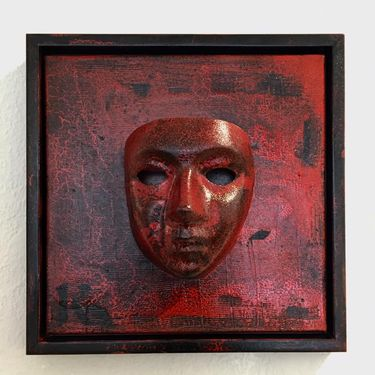 Red mask, 40x40 cm, mixed media, 1500 kr