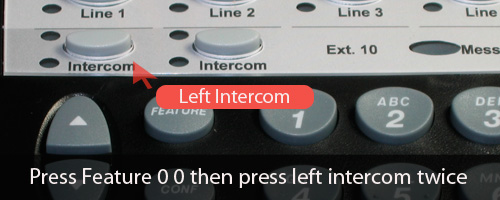 Press Feature 00 then left intercom twice