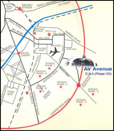 Air Avenue Housing Scheme Location Map