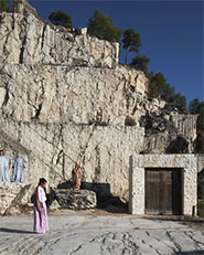 Scenography of greek tragedy Medea in an old marble quarry
