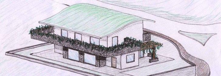 Arch dario nespoli schizzi di progetto per villa for Progetto villa moderna